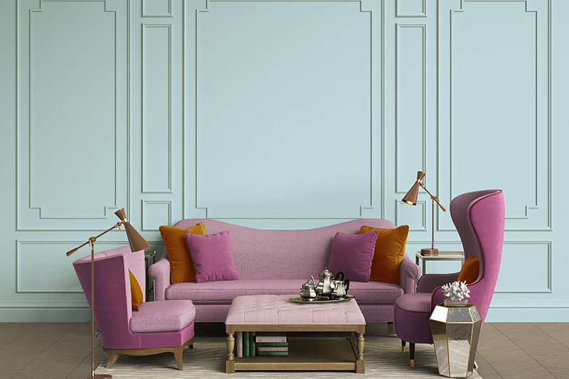 Room colour combination with purple where seating arrangement is kept beautifully subtle and classy