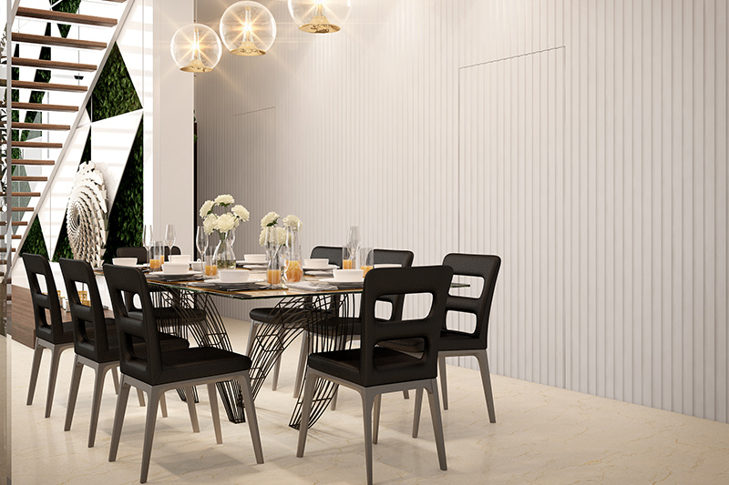 Modern contemporary dining room which is monochrome with black and white colour
