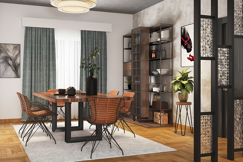 Modern dining room chairs with an industrial touch inspired wall cabinet and decor