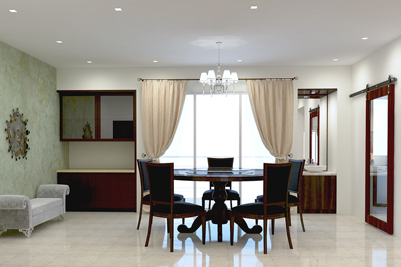Modern dining room chandelier with dedicated dining space with a round dining table