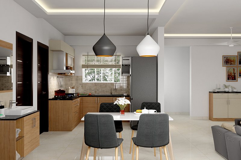 Modern dining room for an open plan kitchen to keep your dining area simple and clean