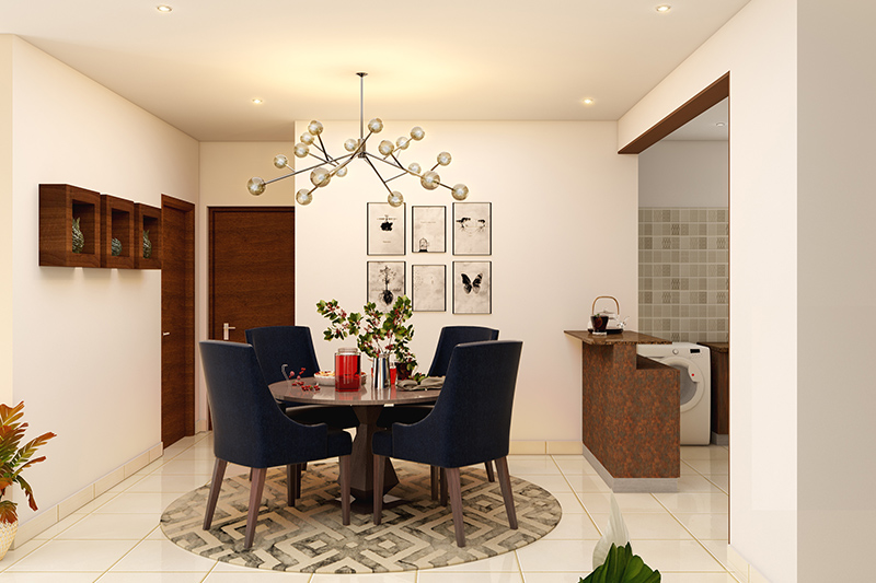 Round modern dining room sets for small spaces with space constraints