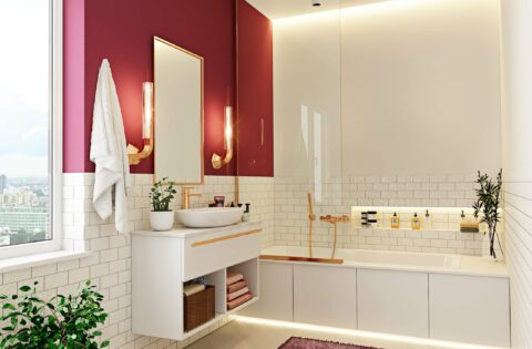 Latest bathroom interior design with white, red and gold color combination to make a modern bathroom design images