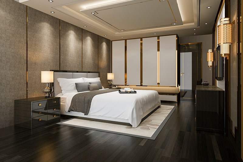 A bedroom interior design in hyderabad with sleek designs with sophisticated accents and decor