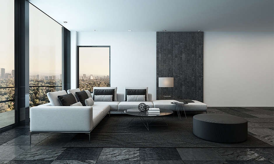 Black flooring for your home with big bay windows and floor made from black stone floor tiles