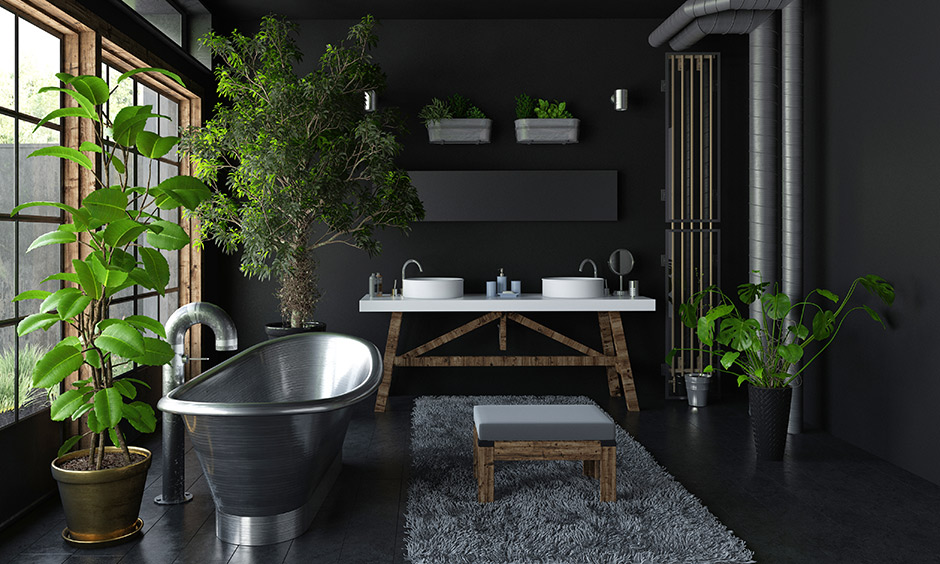 Black floor tiles which is bold and black in colour with walls painted in metallic black flooring