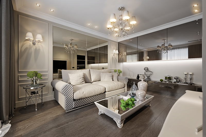 Mirror wall texture designs for the living room is an excellent way to give a classy touch.