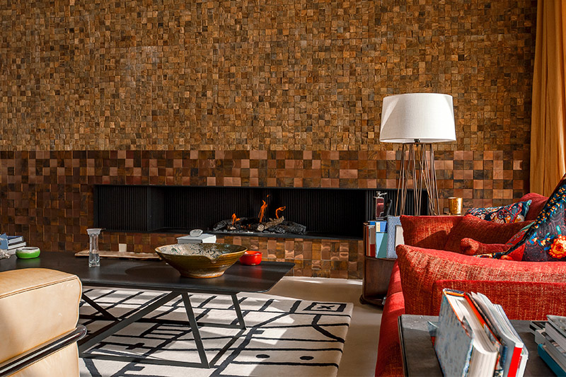 Living room wall texture with wooden it gives Natural looking, depth and brings in warmth.