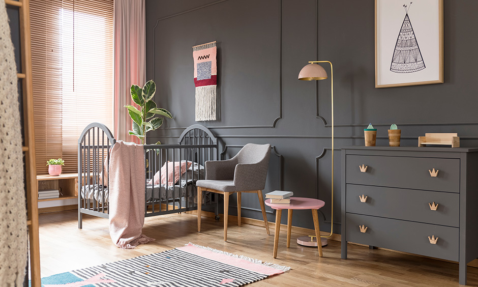 Grey color bedroom makes you feel more comfortable, especially for a baby.