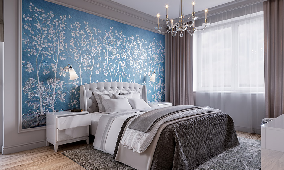 Grey bedroom colors with a stunning silver and blue backdrop are lovely combinations.