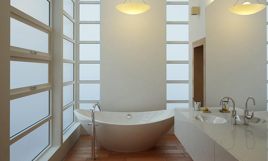 Contemporary bathroom design with a retro pendant bathroom lights