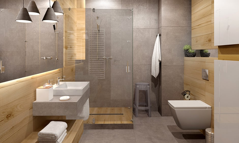 Shade bathroom light ideas suitable in a rustic styled bathroom design