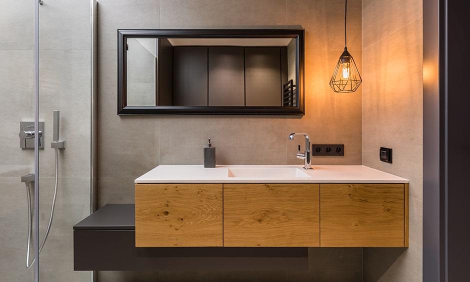 Modern bathroom interior design with industrial style lights