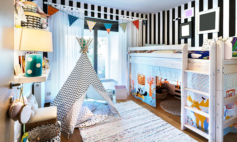 Kids bed design pictures for your home with beach-nursery inspired bunk bed with fold-up flaps