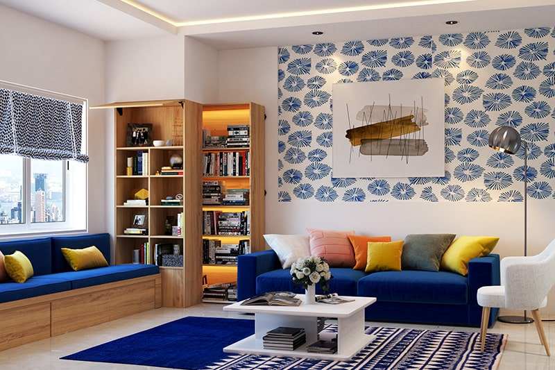 Colour combination for living room with classic blue pantone colour of the year 2020