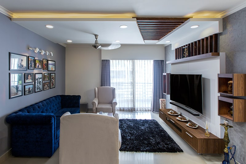 Two colour combination for living room go classy with grey and white