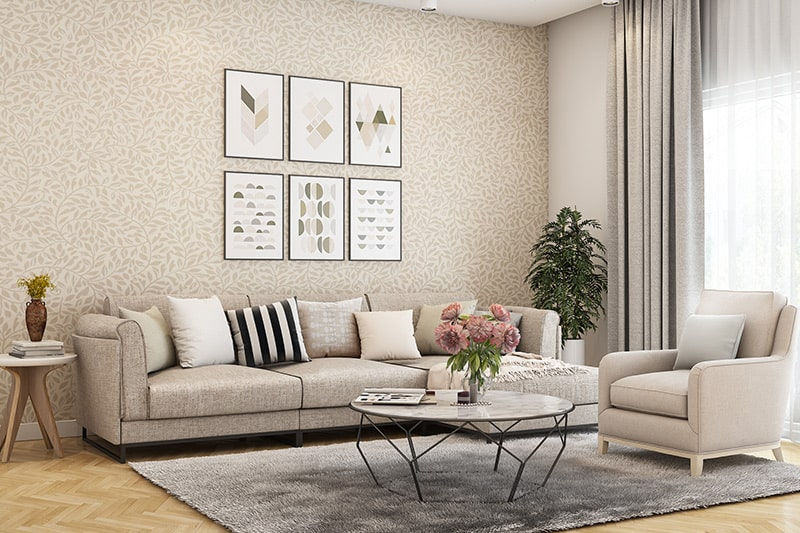 Wall colour combination for small living room with beige and white