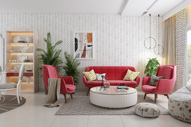 Best living room color schemes are red, beige and white