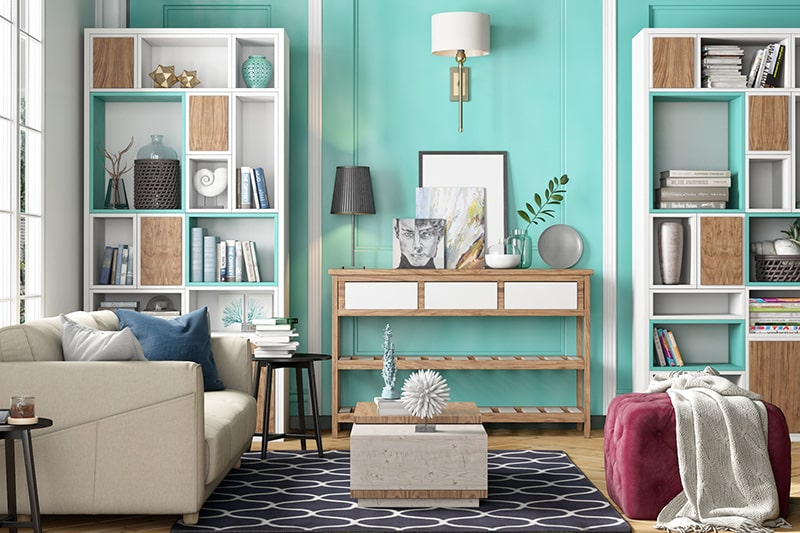 Turquoise and white colour combination for living room walls