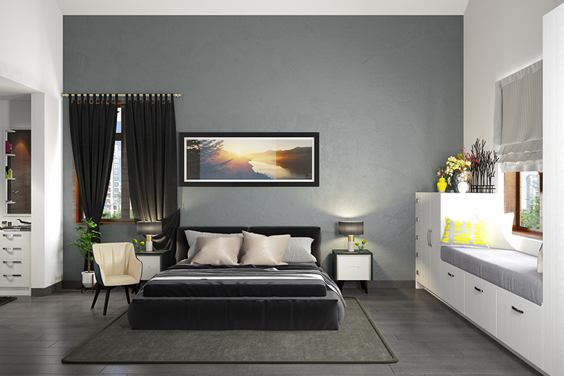 Solid grey wall color works well in a bedroom space where it creates a beckoning atmosphere.