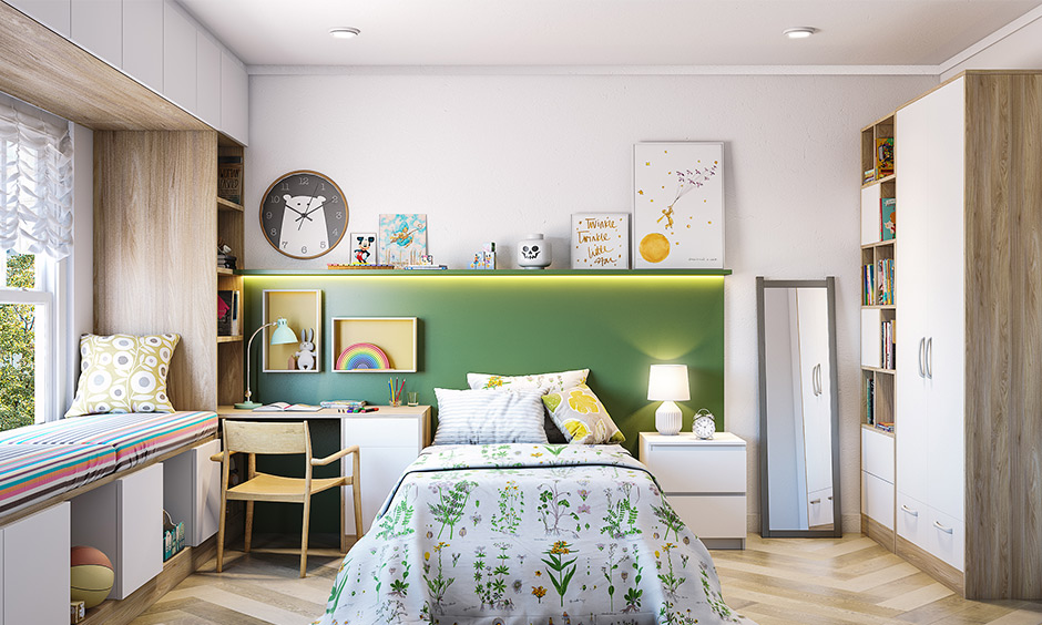 Contemporary kids room style is an excellent choice and looks sleek and modern.