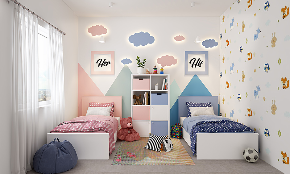 Shared kids bedroom style go for a simple bedroom with neutral colours.