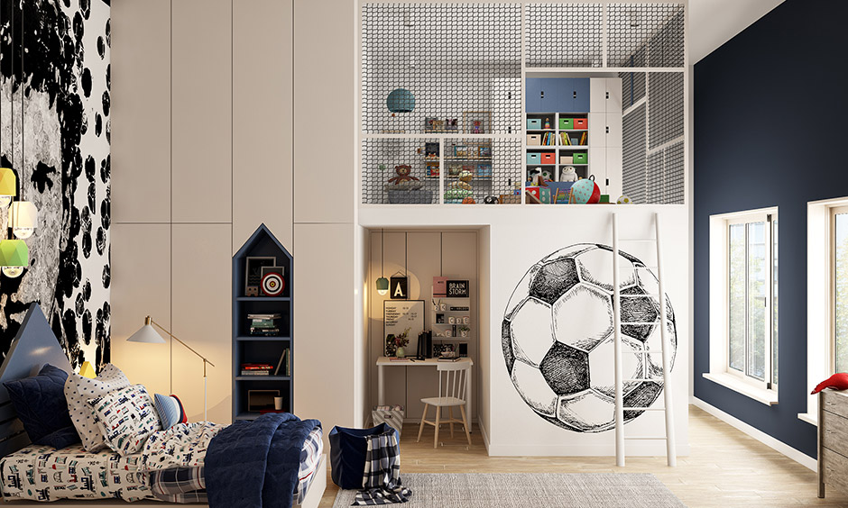 A sports-themed Kids bedroom style makes the bedroom look like a football field.