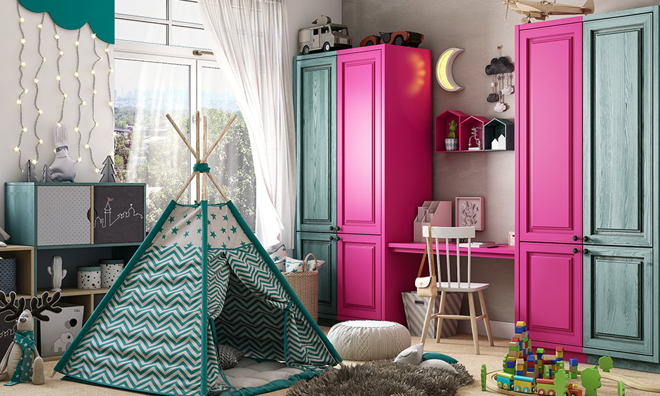 Fuschia and teal colour combination for the children's bedroom is fun and modern.