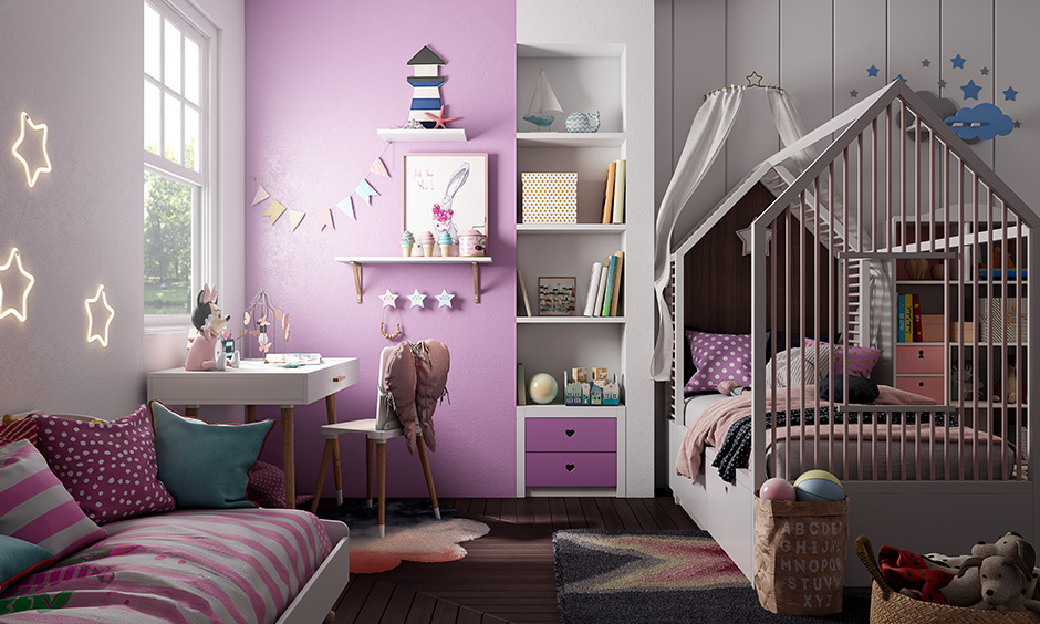 Lilac purple and white kids room colors combination make light on the eyes are sophisticated and soothing.