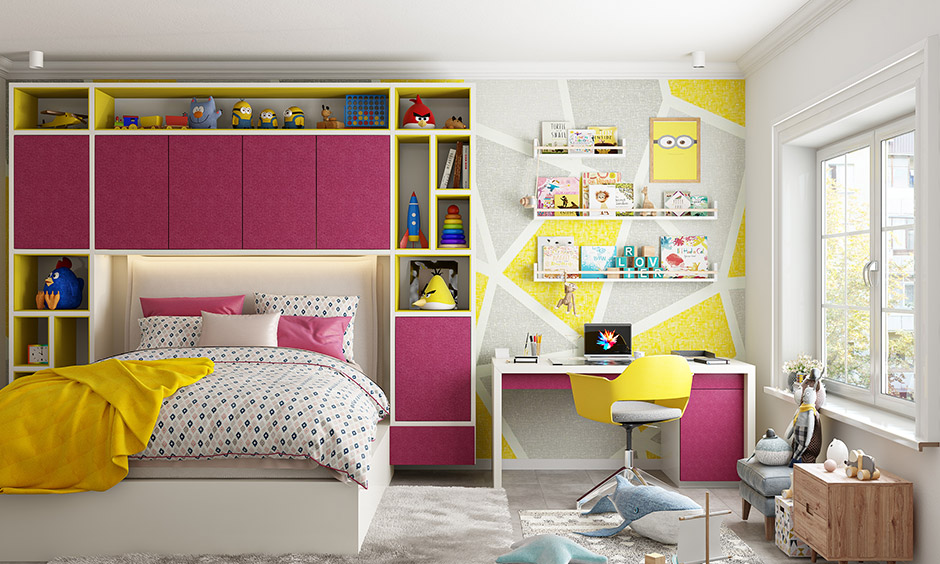 Yellow and magenta is an excellent choice for children's room colour combination.