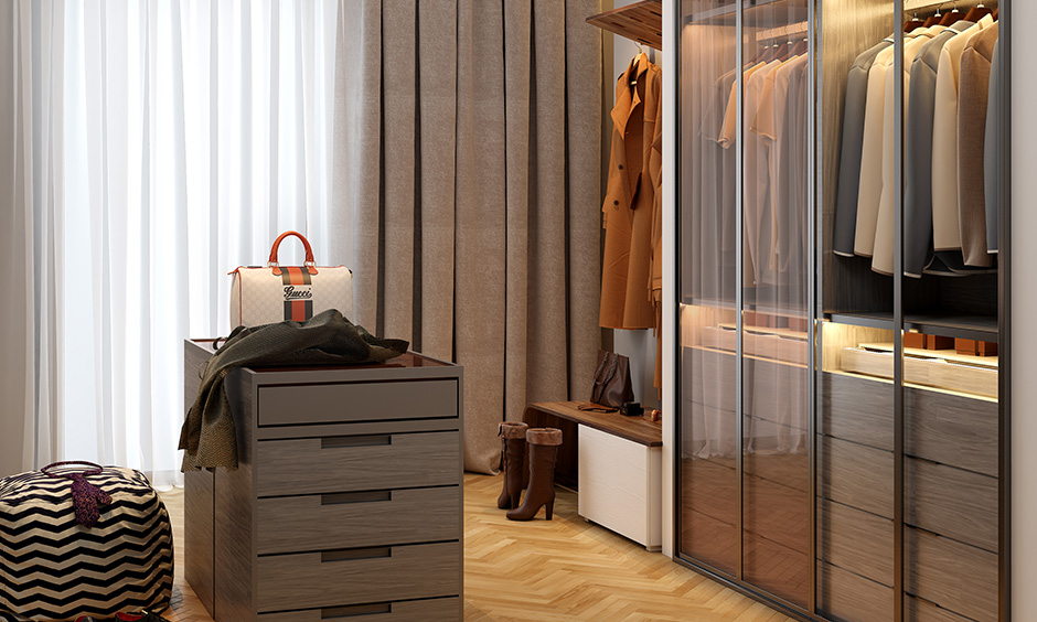 Bedroom metal wall decor in the form of rods, railing, support structure, sheets, cladding and piped for specific design styles