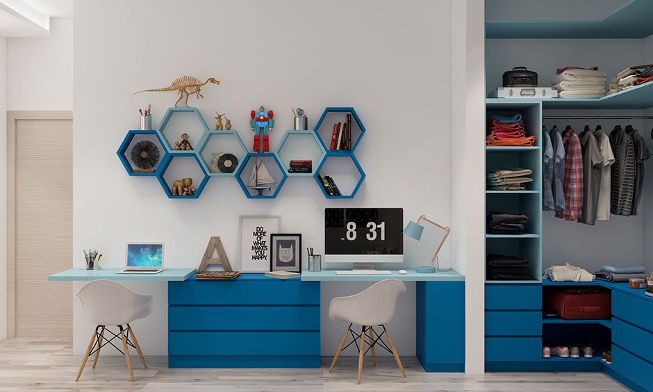 Blue coloured kids storage unit option is a perfect and tall unit with shelves which neatly merges.