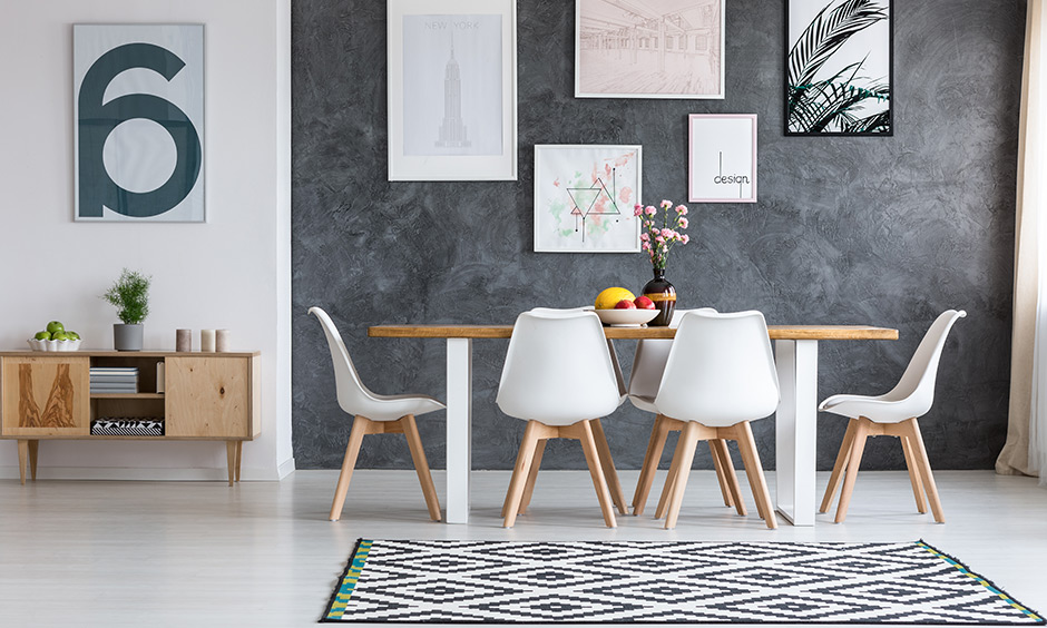 The gallery wall is perfect for your dining wall decor ideas.