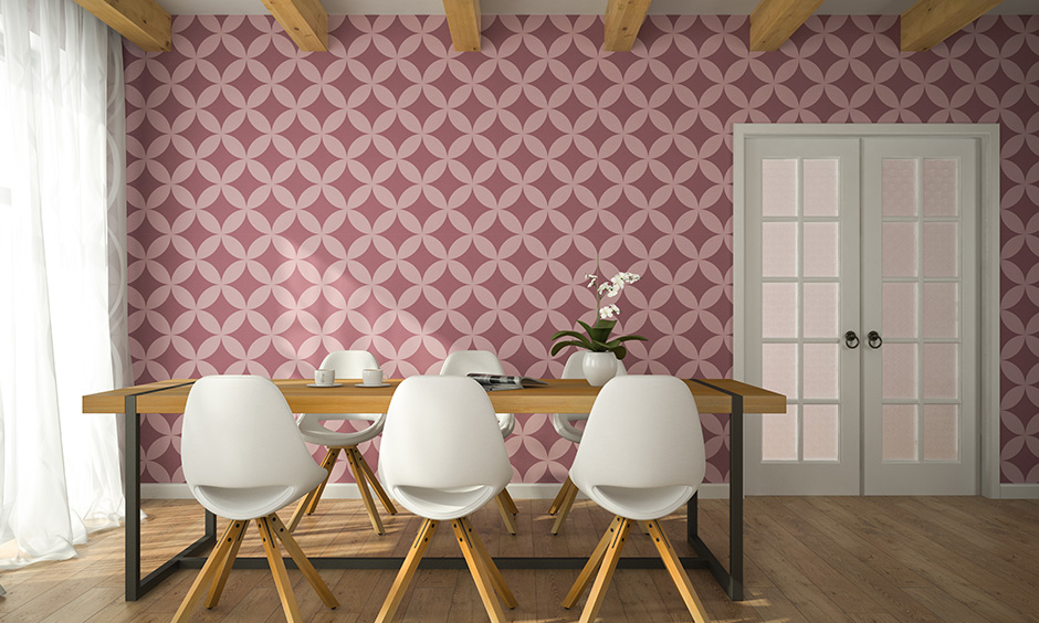 Wallpapers represent themselves with specific patterns and bring in-depth and dynamism to the modern dining room wall decor.