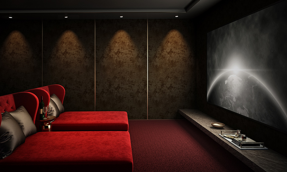 Home theater design ideas with double daybeds in the romantic colour of red and walls of grey will be fantastic.