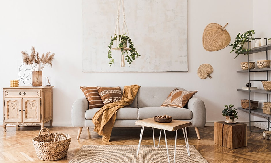 Leafy decor of hanging plants and pots indoors for brown colour room