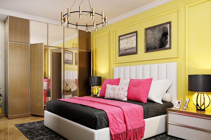 Bedroom color schemes with a white and beige furnishing paired with a bright yellow wall