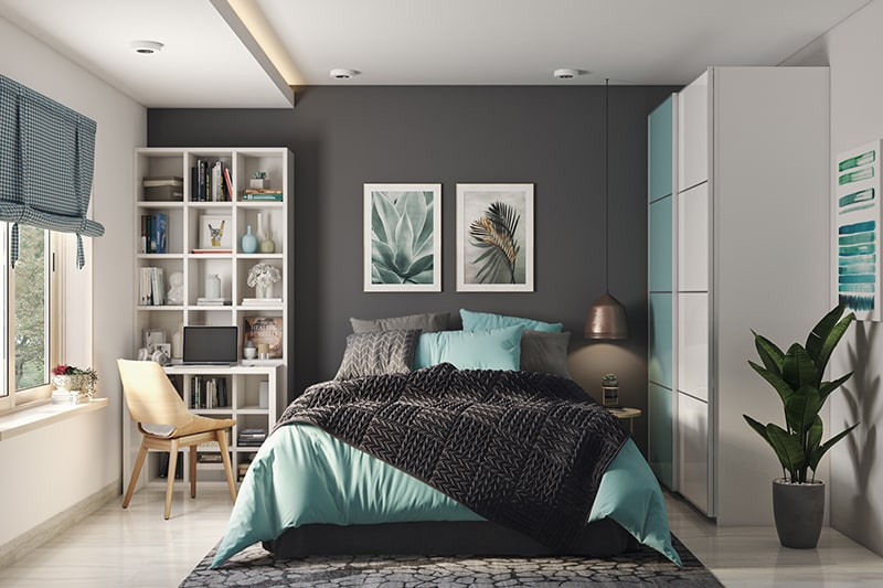 Bedroom wall colour combination with a lighter shade of teal and grey
