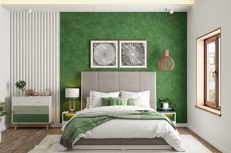 Bedroom color combinations with a shade of brown with bottle green gives nature look