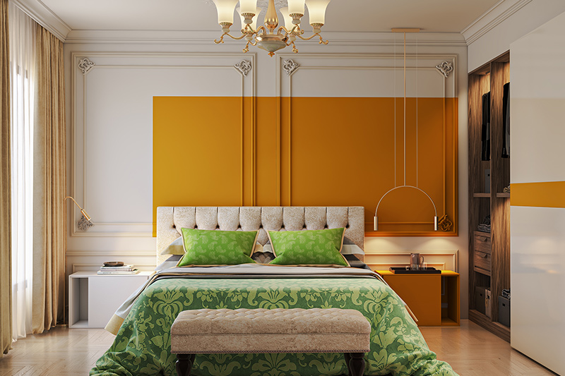 Young couple bedroom colour combination with bright yellows and greens blend