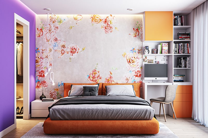 Bold bedroom colour combination with a burnt variant of orange and purple