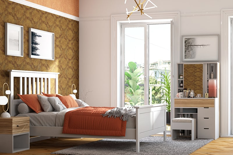 Guest bedroom colour combinations with orange and brown with a splash of grey
