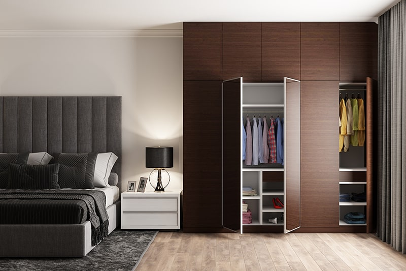 Latest colour combination for bedroom with a neutral colour scheme of black, white and chocolate brown