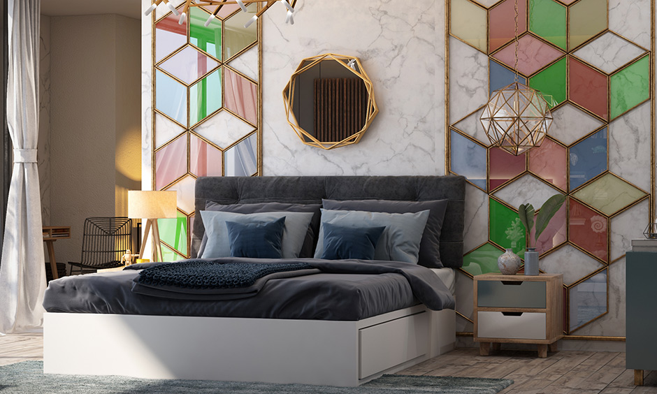 Bedroom accent wall with geometric patterns with prismatic designs which transform walls into eye-catching masterpieces