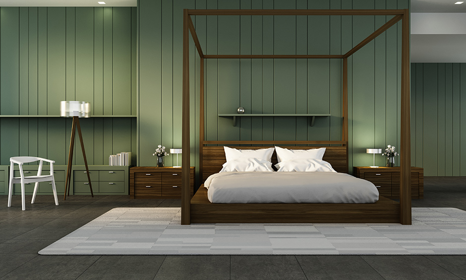 Green accent wall bedroom with straight-edged stripes easy on the eyes, and infinitely variable