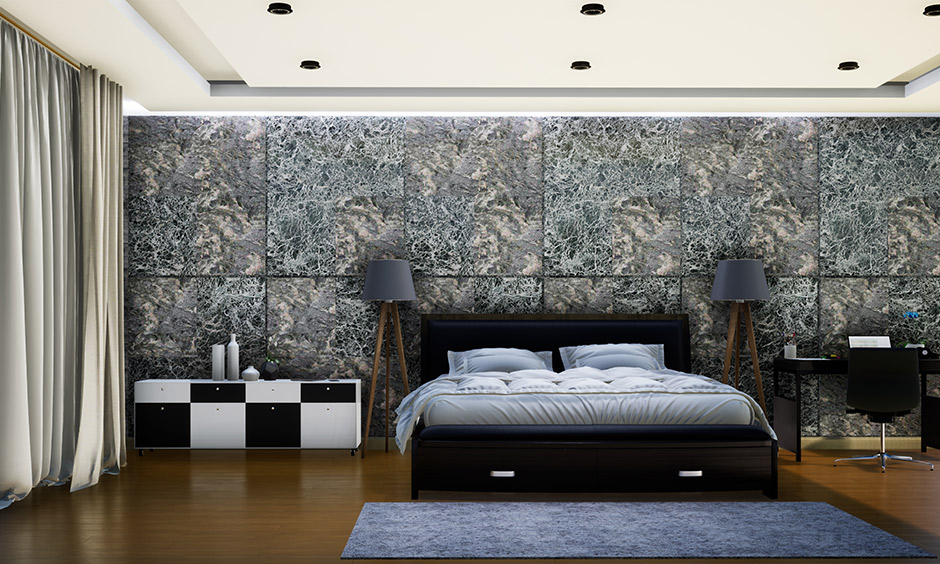 Maroon accent wall bedroom which transforms a rooms wall with its bold patterns using tiles