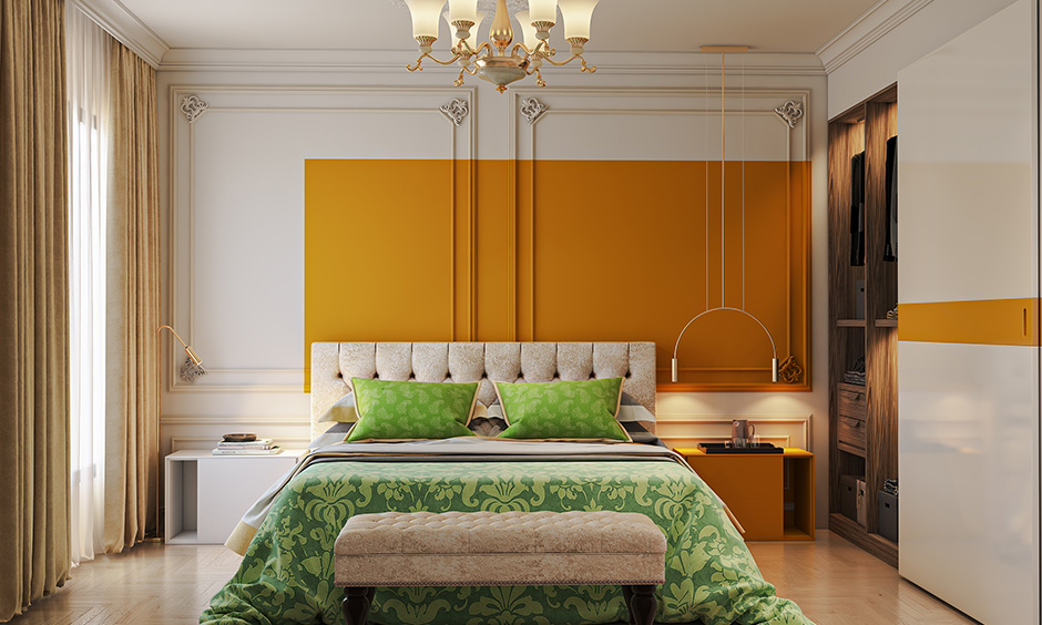 Bedroom accent wall which is two toned which makes your bedroom feel larger or more playful