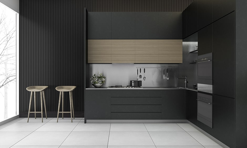 Black and white kitchen design with a tint of beige to give a perfect symphony