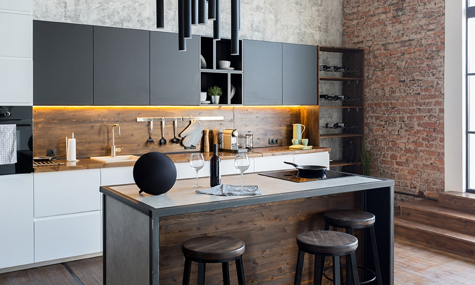 Black and white industrial kitchen design with wooden furniture and black and white kitchen cabinets
