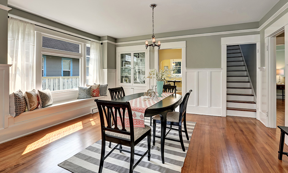 Elongated window seat ideas add extra seating for family members and occasional guests that look airy.